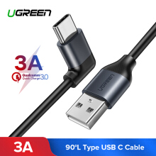 UGREEN Kabel Data 1Meter Type-C Cable for Xiaomi pocophone F1, Samsung s9, Huawei Mate 9, Mate 10 Sumsung note 9, 90 Degree USB Cable 2A USB Type C Cable for Oneplus 5 USB C Fast Charging Data Cable