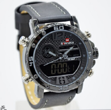 Naviforce Jam Tangan Pria -D44H185NF9134HTMABU -Dual Time -Leather Srap-Black Grey Black
