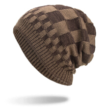 Zanzea 0051Men Women Winter Warm Coral Fleece Thicken Beanie Caps Outdoor Double Layers Knitted Hat  Khaki