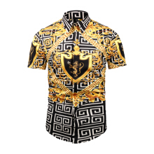 SiYing Summer Men's Casual Thin Lapel T-Shirt Ethnic Style Creative Print Short Sleeve Shirt