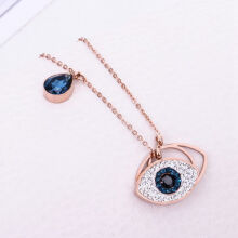 musheng jewelry rose gold-plated inlaid zircon blue eyes women's pendant necklace