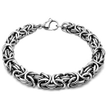SESIBI 1pc Cool Man Titanium Steel Weave Twisted Bracelet Concise Style Hand Chain One Size - Silver