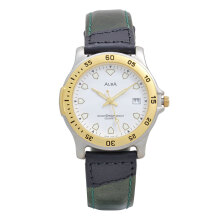 ALBA Jam Tangan Pria - Green Silver Gold White - Leather Strap - AXDB26