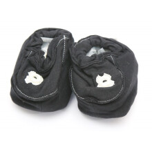 Cribcot Booties with Ribbon - Black & Broken White