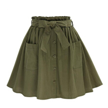 Jantens 2018 Women Skirt Retro High Waist Pocket Solid Color Bow Belt Midi Skirt Summer Army Green Green one size
