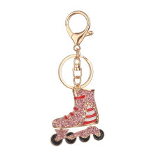 Roller Skates Shape Keychain Novelty Woman Bag Pendant Key Chain Decoration pink