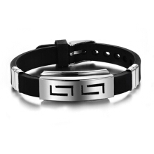 Farfi Men Rubber Stainless Steel Clasp Cuff Bangle