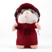 [kingstore] Cute Talking Music DJ Hamster Plush Sound Record Hamster With Mic Animal Toy Red