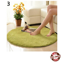 Farfi Home Decoration Bedroom Hall Pure Color Round Velvet Carpet Cushion Door Floor Mat