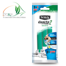 SCHICK Disposable Exacta 2 Sensitive Hijau (2+1 Free Razor)