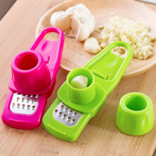 Jantens 2PC Portable multifunctional garlic press kitchen gadget vegetable slicer cooking tool ginger garlic grinder 2PC