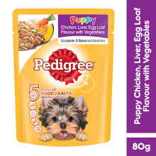 PEDIGREE Pouch Junior 80gr Makanan Anjing Basah rasa Chicken Liver Egg