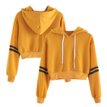 Farfi Stripe Hooded Long Sleeve Women's Casual Sporty Short Hoodie Pullover Crop Top