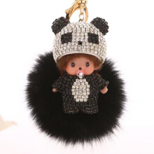 Anamode Crystal Car Key Ring Pacifier Hat Doll Keychain Pendants Bag Accessories Gift Jewelry - Multicolor