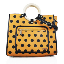 Bellagio Poppy-871 Polkadot Hand Bag Brown