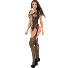 [OUTAD] Breathable Sling Nightwear Minidress Women Lingerie Fishnet Stretch Chemise Black