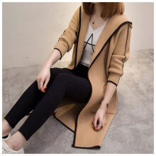 Women's Knitted Sweater Cardigan All-match Tops Overcoat Hooded Outwear Khaki S