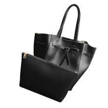 [LESHP]2PCS/SET Women PU Leather Composite Bag Large Capacity Simple Lady Handbag Black