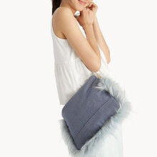 Faux Fur Lined Crossbody Bag - Blue [One Size]
