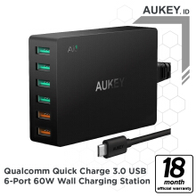 Aukey Charger 6 Ports 60W QC 3.0 & AiQ - 500292