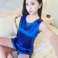 Sexy 2Pcs Sleeveless Silky Summer Pajamas Suit Solid Color Women Lady Homewear royal blue L