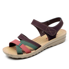 Jantens Mama sandals made soft leather large size sandals flat bottom summer casual comfortable non-slip middle-aged