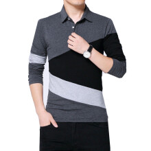BestieLady TD002 Plus Color Block Long Sleeve Polo Tee