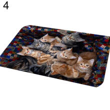 Farfi Cat Puppy Print Floor Mats Bedroom Carpet Anti-Slip Toilet Doormat