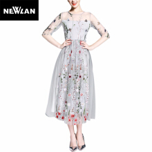 Newlan Dress gorgeous half sleeve elegant embroidered maxi dress bohemian