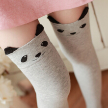 Zanzea 0051Women Girls Cartoon Animal Cotton Stocking Kawaii Cat Bear Over Kneed High Tight Socks Black