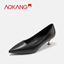 AOKANG women's pumps Shoes genuine leather high heel business ladies shoes