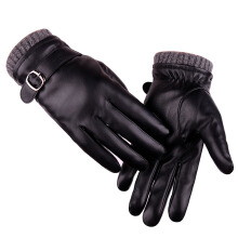 SiYing Men's fashion leather imported gloves PU touch screen couple gloves-Black