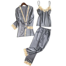 Jantens 2018 Three Piece Female Sexy Silk Pajamas Set Robe Sling Pajamas Long Sleeved Pants
