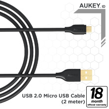 Aukey Cable 2M Micro USB 2.0 Gold Plate - 500258 Black
