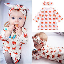 Farfi Newborn Baby Girls Foxes Pattern Cotton Long Sleeve Dress Headband