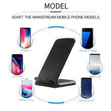 Wireless Charger Cordless Leather Phone Charger Portable Charging Stand Black