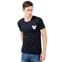 DISNEY Mickey Mens Basic T-Shirt Diamond Quick Dry - Black