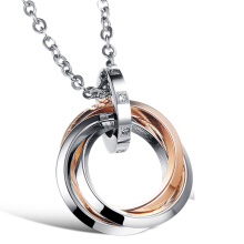 SESIBI Circle Rings Pendant Necklace Ti Jewelry Lovers Couples Chain -