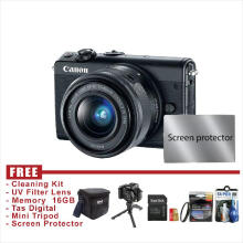 Canon EOS M100 Lensa 15-45 IS STM - HITAM - FREE Accessories