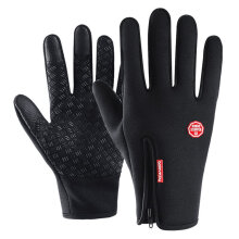 Outdoor Leather Ski Gloves Protection Touch Screen Warm Non-slip Gloves black M