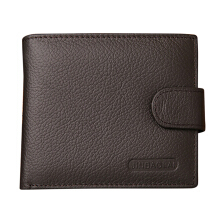 [LESHP]JINBAOLAI Head Layer Nubuck Leather Men Business Purse Zipper Casual Wallet Coffee