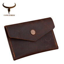 COWATHER 100% Crzay horse high quality leather men wallet luxury male purse
