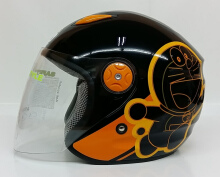 BMC Milan Doraemon Helm Half Face - Black Orange Multicolor L
