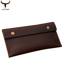 COWATHER high grade Crazy horse leather fashion cow genuine leathe long male purse two color