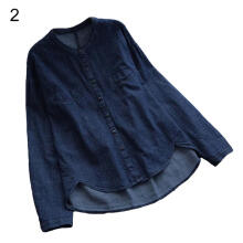Farfi Autumn Women Buttons Down Asymmetrical Denim Blouse Solid Color Casual Shirt Top