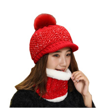 SiYing fashion winter plus velvet thickening women's warm neck knit hat