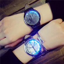 PEKY Creative Personality Minimalist Leather Normal Waterproof LED Watch Men And Women Couple Watch