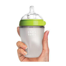 Comotomo Soft Hygienic Silicone Baby Bottle 250ml with Medium Flow Nipple 3m+ - Green