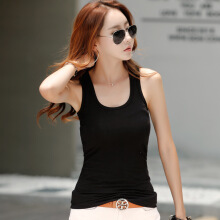 Newlan Basic cotton vest female summer Korean version of slim ladies underwear Black Average size