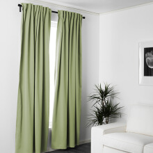 FOOJO Fureng finished curtains linked living room bedroom floor curtain fabric 2 meters wide * 2.7 meters high light green